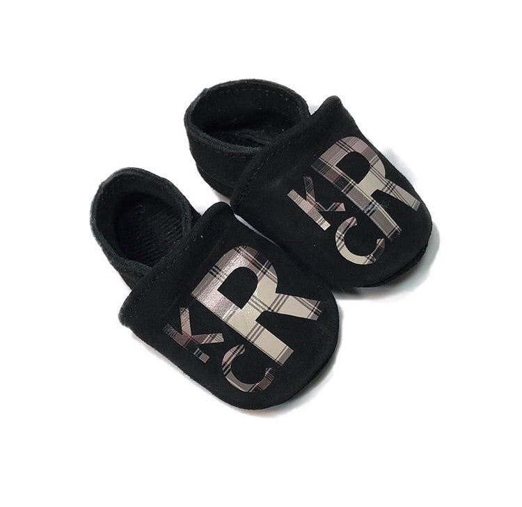 Flat Top Suede Monogrammed Baby Moccasins - The Kinsley Collection