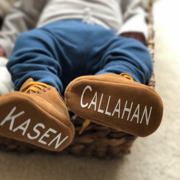 Lumberjack Boots- Monogrammed Baby Moccasins - The Kinsley Collection