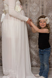 Ivory, taupes and peach deluxe pregnancy sash and matching daughter headband perfect for mommy & me maternity photos