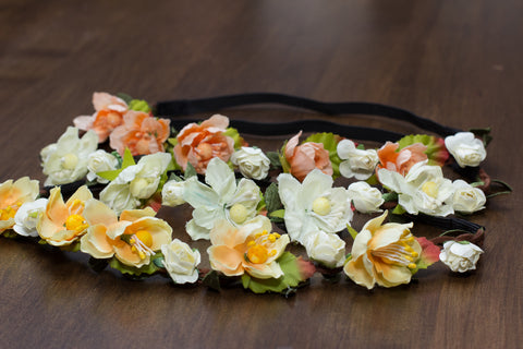 Floral crowns with cute flowers for bohemian maternity photo shoot. Shown in White, Peach and Yellow.
