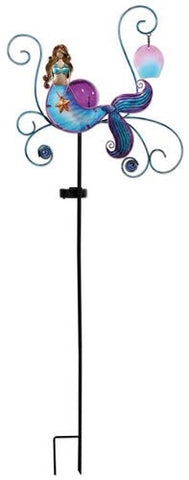 Sunset Vista Designs Mermaid Garden Stake With Solar Powered Light, 43""