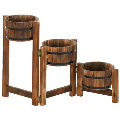 Rustic Three-Level Barrels Planter
