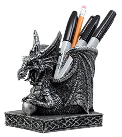 "Ebros Gift Shenlong Spirit Dragon Orb Stationery Holder Figurine 4.75""H Office Desktop Accessory Pen Organizer"