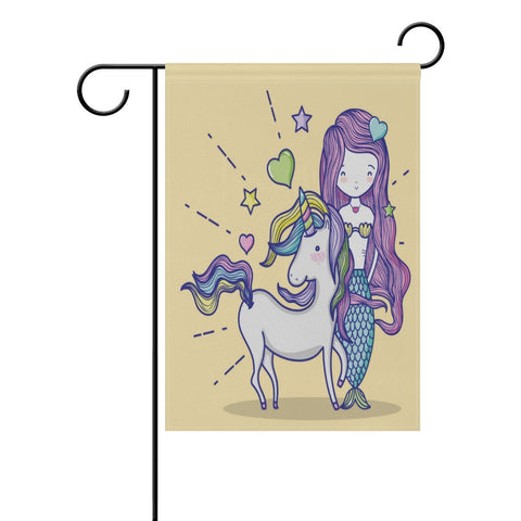 ALAZA Mermaid With Unicorn Art Garden Flag Decorative Flag for Yard Home and Wedding Garden Decor 12 x 18 Inch 100% Polyester Printed on Both Sides