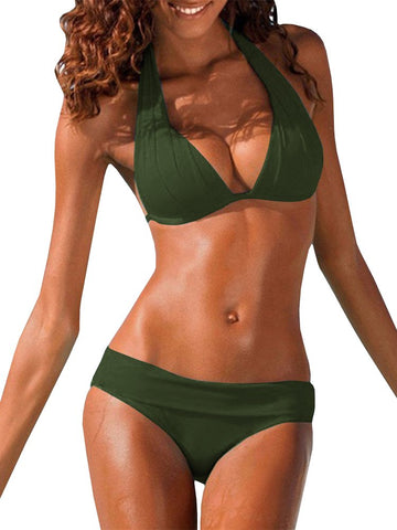 Womens Halter Padded Top Push up Bikini Set Two Piece Swimsuits Bathing Suits Beachwear