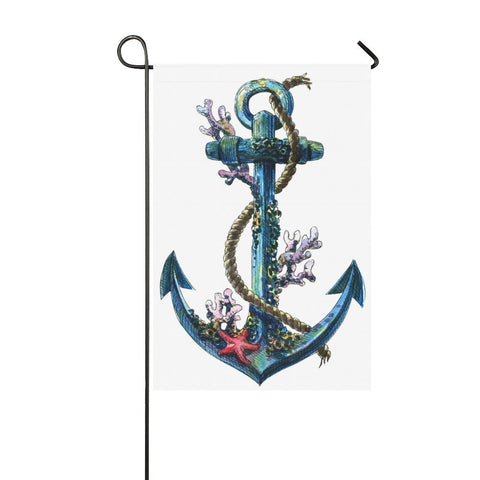 InterestPrint Nautical Sea Anchor Polyester Garden Flag House Banner 12 x 18 inch, Summer Seashell Coral Decorative Flag for Wedding Party Yard Home Outdoor Decor