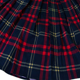 Dressever Women's Vintage A-Line Printed Pleated Flared Midi Skirt Plaid (Red and Navy) X-Large