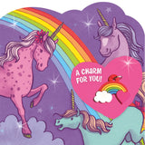 Peaceable Kingdom Rainbow Unicorn 28 Card Super Valentine Pack with Real Charm Keepsakes