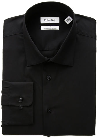"Calvin Klein Men's Big and Tall Non Iron Fit Herringbone Spread Collar Dress Shirt, Black, 20"" Neck 37""-38"" Sleeve"