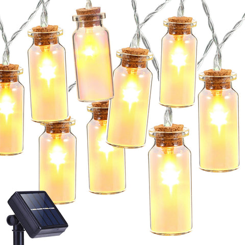 Solar String Lights, Oak Leaf 30 LEDs Waterproof Glass Jar LED Fairy Lights for Outdoor Garden Backyard Wedding Indoor Party, Warm White,9.8 ft