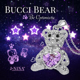 Necklace Jewelry Valentines Day Gifts for Daughter J.NINA Bucci Teddy Bear Style Pendant with SWAROVSKI Crystals Adored with Star-shaped Hollow Birthday Anniversary Gift for Sister Granddaughter Niece