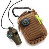 Emergency Paracord Survival Kit (30 Tools) by X-Plore Gear|Natural Disaster/Earthquake Preparedness Response 30 ft Cord, Knife, Whistle, Compass for Outdoor Adventures, Backpacking, Boat, Car (Brown)
