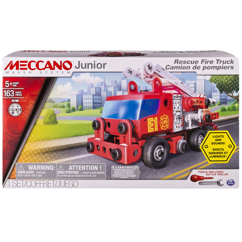 Meccano Junior - Rescue Fire Truck with Lights and Sounds Model Building Set, 163 Pieces, For Ages 5+, STEM Construction Education Toy