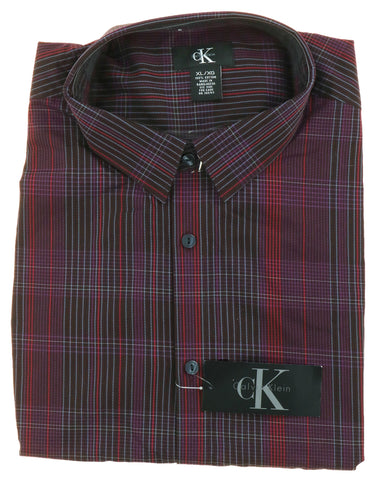 Calvin Klein Mens Casual Dress Button Front Shirt (Medium, Terra Brun Pin Stripe Plaid)