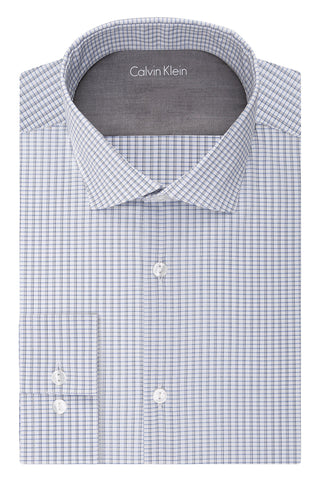 "Calvin Klein Men's Big and Tall Stretch Xtreme Slim Fit Check Spread Collar Dress Shirt, Multi/Blue, 17""-17.5"" Neck 32""-33"" Sleeve"