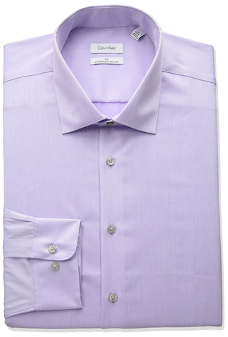 "Calvin Klein Men's Big and Tall Non Iron Fit Herringbone Spread Collar Dress Shirt, Lilac, 20"" Neck 34""-35"" Sleeve"