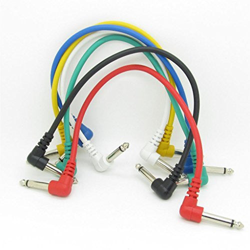 Anti-noise Guitar Cable Wire Effect Pedal Cable Cord,Short Audio Connection Cable 6.35mm Pack of 6