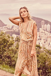 Sun Orange Alexa Swirl Dress