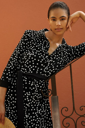 Polka Dot Shirt Style Dress 201387