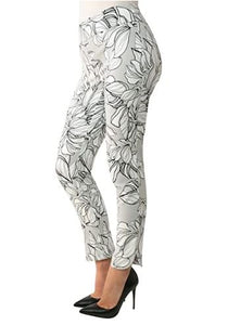 Up! Pants Delray Leaf Print Pull on Tummy Control 66792