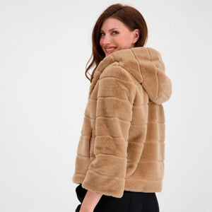 Faux Fur Jacket with a Hood