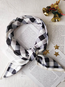 Black and White Check Bandana Scarf