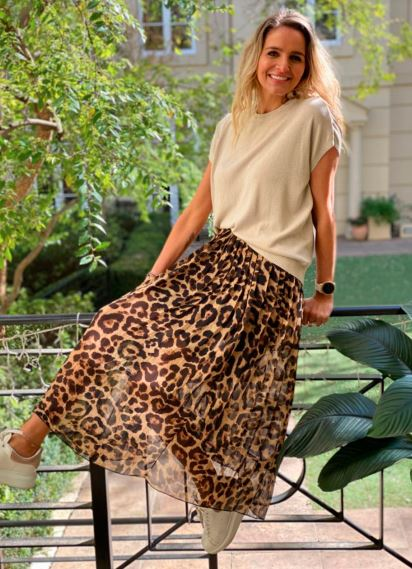 Animal Print Pleated Skirt in Natural