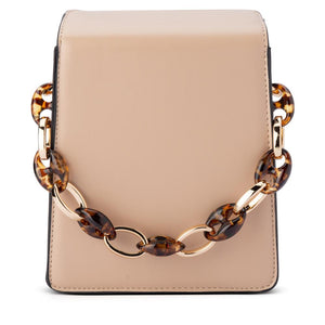 Cherry Acrylic Chain Top Handle Bag in Natural
