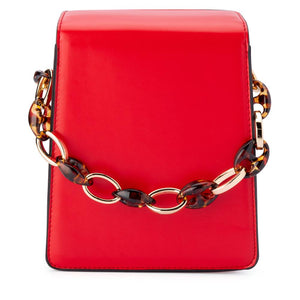Cherry Acrylic Chain Top Handle Bag in Red