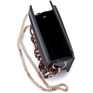 Cherry Acrylic Chain Top Handle Bag in Black