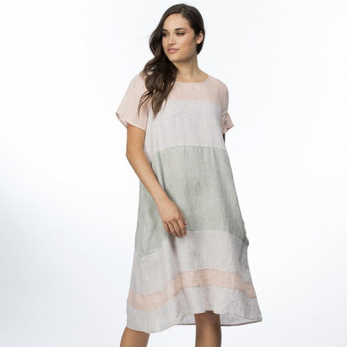 Spliced Linen Dress