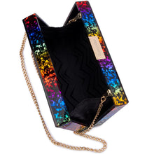 Mardi Gras Rainbow Glitter Box Clutch