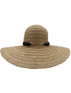 RE1170NT Natural Wide Braid Raffia Floppy Hat with Scarf