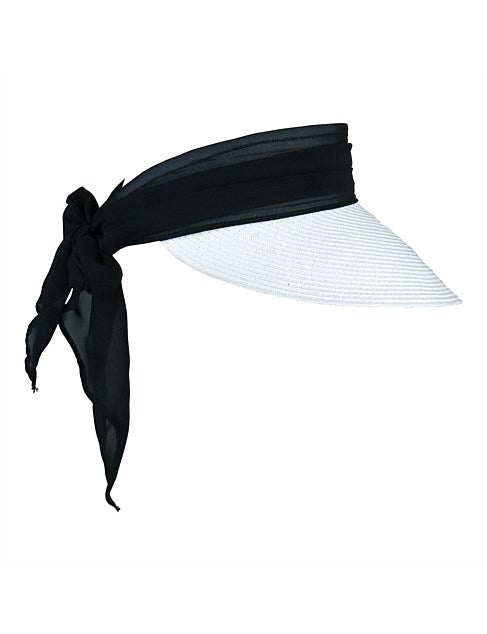 RE1208 Paper Braid Visor With Fabric Band And Bow