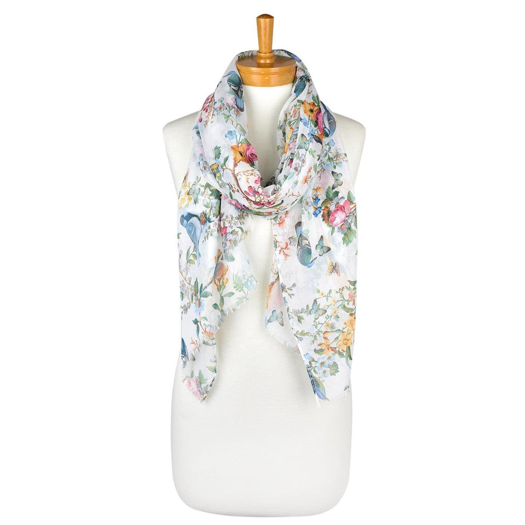 White: Bird Garden Scarf
