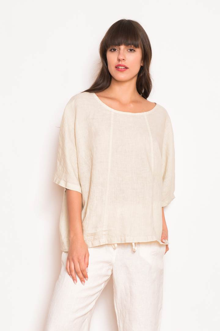 Linen Loose Fit Back Buttons Blouse BLS0216