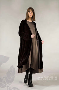 Velvet Coat style long jacket with silk lining by Grizas