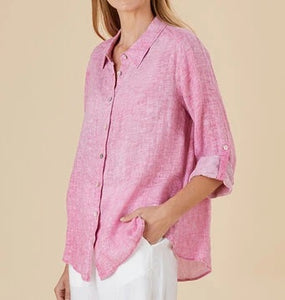 Raspberry Ripple Linen Shirt