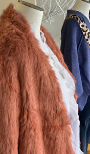 Fur Jacket in Coral