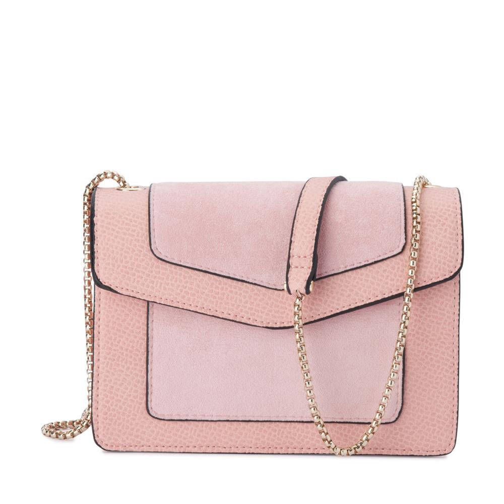 Montana Suede and Pebble Shoulder Bag in Blush