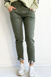 Sequin Cuff Pant in Khaki Green