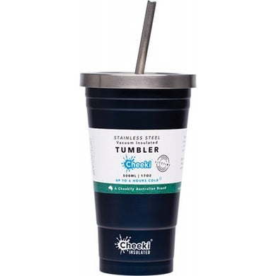 CHEEKI Insulated Tumbler - Ocean - With S/Steel Straw - 500ml