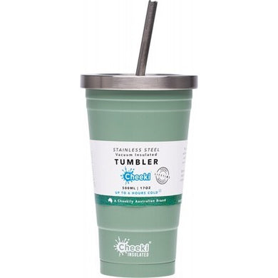 CHEEKI Insulated Tumbler - Pistachio - With S/Steel Straw - 500ml