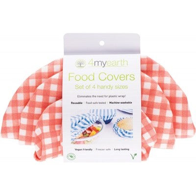 4MYEARTH Food Cover Set - Red Gingham - XS, S, M & L
