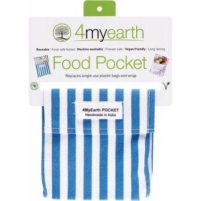 4MYEARTH Food Pocket - Denim Stripe - 14x14cm