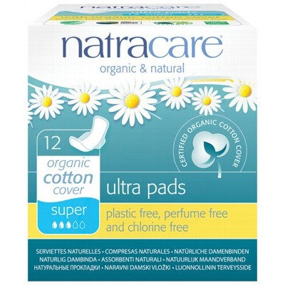 NATRACARE Super Ultra Pads with Wings 12 pack