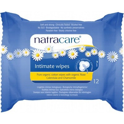 NATRACARE 100% Organic Cotton Intimate Wipes 12 pack