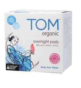 TOM Organic Pads Ultra Thin Night Pads with Wings x10