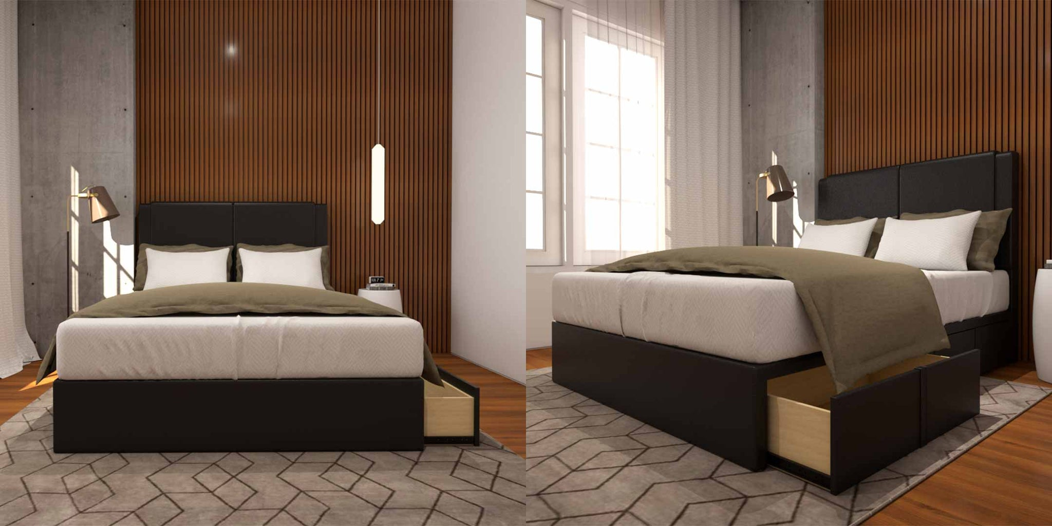 Organize your bedroom with Ashleah Faux Leather Drawer Bedframe
