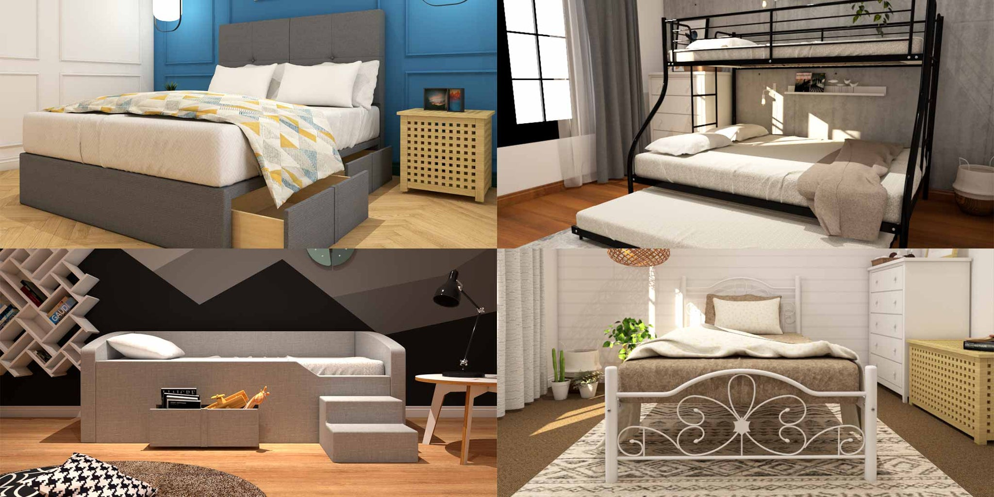 Different Styles of Bed frame - Storage Bed, Bunk Bed, Daybed, Metal bed